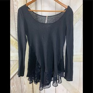 Free People long sleeve lace top XS